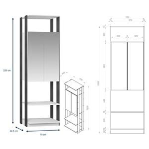 Quarto Modulado Closet Clothes 4 Módulos Branco/Espresso - BE Mobiliário