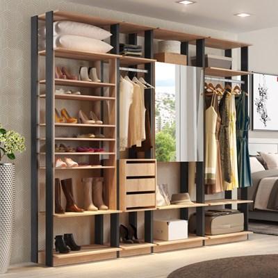 Quarto Modulado Closet Clothes 4 Módulos Carvalho/Espresso - BE Mobiliário