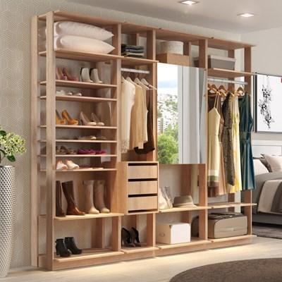 Quarto Modulado Closet Clothes 4 Módulos Carvalho Mel - BE Mobiliário