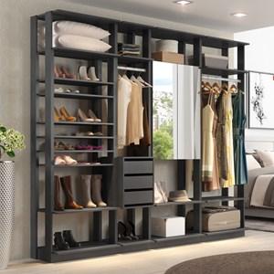Quarto Modulado Closet Clothes 4 Módulos Espresso - BE Mobiliário