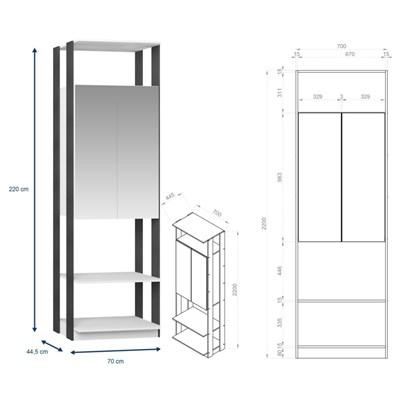 Quarto Modulado Closet Clothes 6 Módulos Branco/Espresso - BE Mobiliário