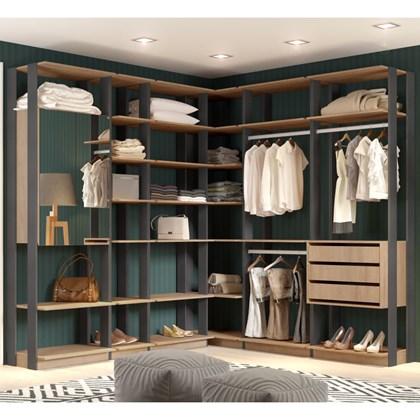 Quarto Modulado Closet Clothes 6 Módulos Carvalho/Espresso - BE Mobiliário