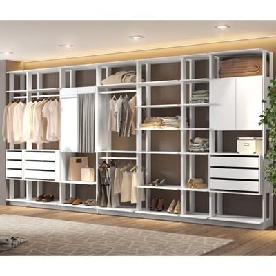 Quarto Modulado Closet Clothes 7 Módulos Branco - BE Mobiliário