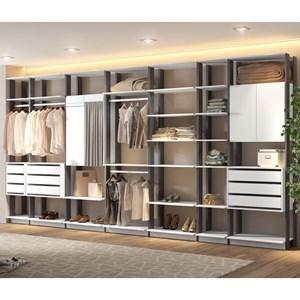 Quarto Modulado Closet Clothes 7 Módulos Branco/Espresso - BE Mobiliário