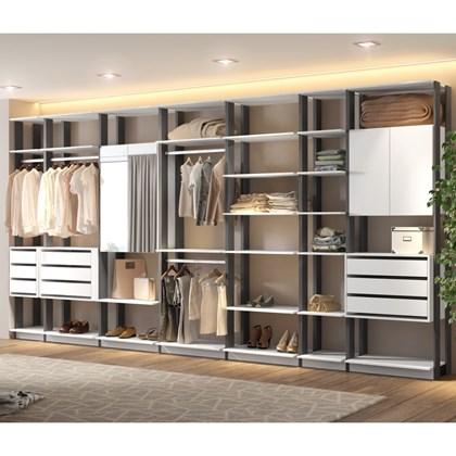 Quarto Modulado Closet Clothes 7 Módulos Branco Espresso Be Mobiliário