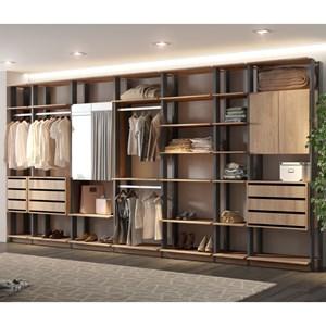 Quarto Modulado Closet Clothes 7 Módulos Carvalho/Espresso - BE Mobiliário