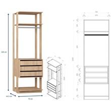 Quarto Modulado Closet Clothes 7 Módulos Carvalho Mel - BE Mobiliário