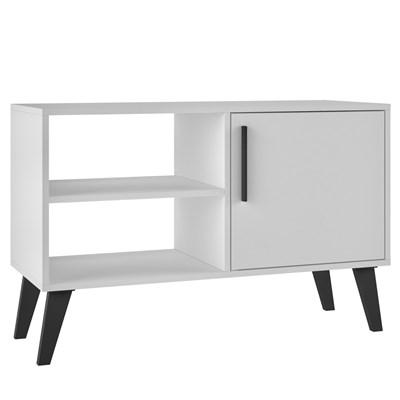 Rack 1 Porta Pés Retrô TV até 50 Pol. BPP 24 Branco/Preto – BRV Móveis