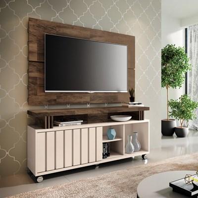 Rack Bancada Com Painel Para  TV Até 50 Pol. Briz H01 Off White/Deck - Mpozenato