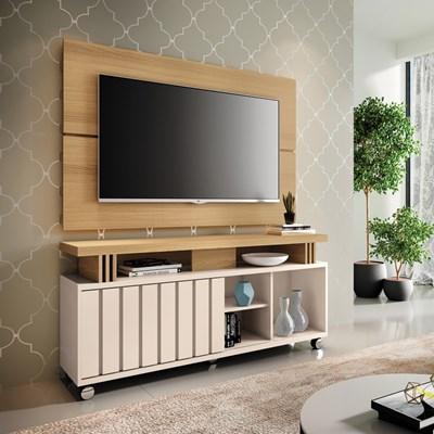 Rack Bancada Com Painel Para  TV Até 50 Pol. Briz H01 Off White/Freijó - Mpozenato