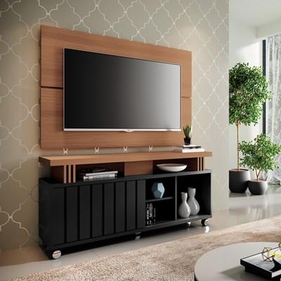 Rack Bancada Com Painel Para  TV Até 50 Pol. Briz H01 Preto/Nature - Mpozenato