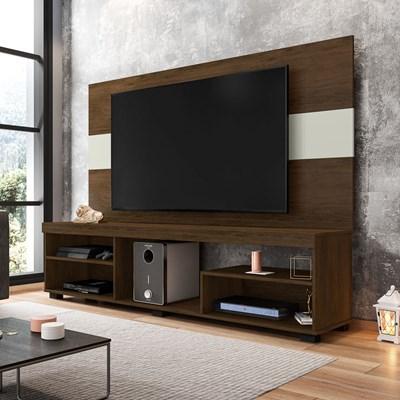 Rack Bancada Com Painel Para TV Até 65 Pol. Rock Preto Cacau/Cinza Cristal - Móveis Leão