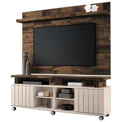 Rack Bancada Com Painel Para  TV Até 70 Pol. Briz H01 Off White/Deck - Mpozenato