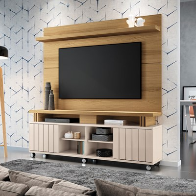Rack Bancada Com Painel Para  TV Até 70 Pol. Briz H01 Off White/Freijó - Mpozenato