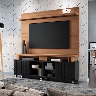 Rack Bancada Com Painel Para  TV Até 70 Pol. Briz H01 Preto/Nature - Mpozenato