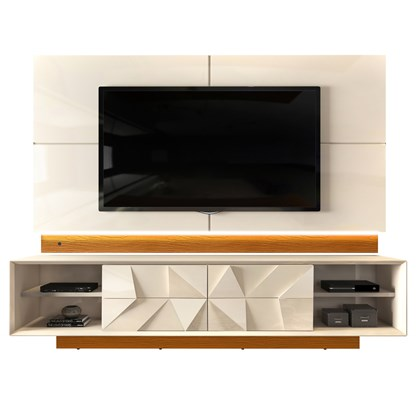 Rack Bancada com Painel TV até 75 Pol. Gavetas 3D Pirâmide Colone Creme/Cinamomo Mel - Dj Móveis