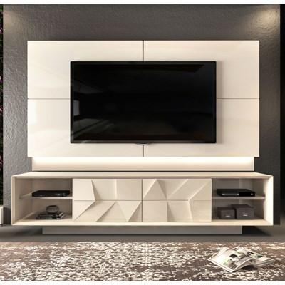 Rack Bancada com Painel TV até 75 Pol. Gavetas 3D Pirâmide Colone Creme - Dj Móveis
