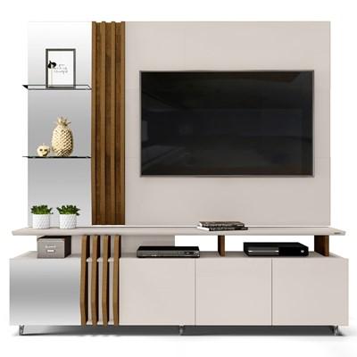 Rack Bancada e Painel com Espelho para TV até 55 Pol. Bella Creme/Tronco Ripado - Dj Móveis