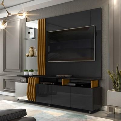 Rack Bancada e Painel com Espelho para TV até 55 Pol. Bella Preto Gloss/Tronco Ripado - Dj Móveis