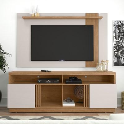 Rack Bancada Itapuã com Painel para TV até 70 Pol. Leme Natura Real/Off White - Colibri
