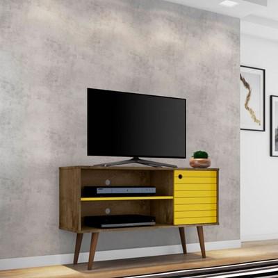 Rack Bancada Para TV até 42 Pol. Jade Madeira Rústica/Amarelo - Bechara