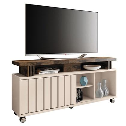 Rack Bancada Para TV Até 50 Pol. 1.3 Briz H01 Off White/Deck - Mpozenato