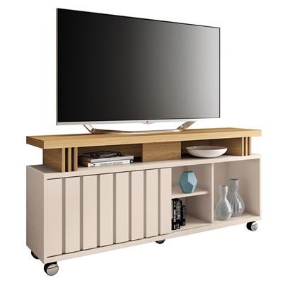 Rack Bancada Para TV Até 50 Pol. 1.3 Briz H01 Off White/Freijó - Mpozenato