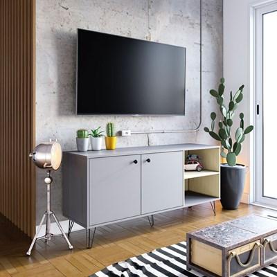 Rack Bancada para TV até 50 Polegadas 140cm 2 Portas Içá Cinza Fosco/Tauari Nobre - Colibri