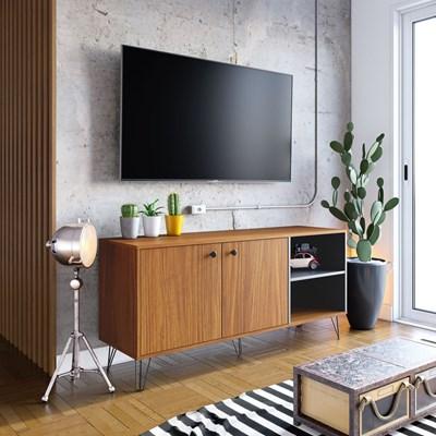 Rack Bancada para TV até 50 Polegadas 140cm 2 Portas Içá Noce Milano/Preto Fosco - Colibri