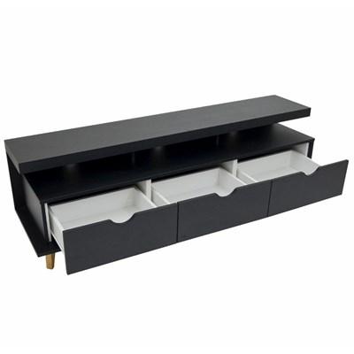 Rack Bancada Para TV Até 60 Pol. 160cm 3 Gavetas Evoque F06 Preto - Mpozenato