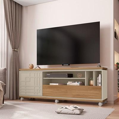 Rack Bancada Para TV Até 65 Polegadas 2 Portas 3D Form Buriti/Off White - Caemmun