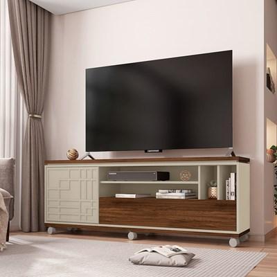 Rack Bancada Para TV Até 65 Polegadas 2 Portas 3D Form Havana/Off White - Caemmun