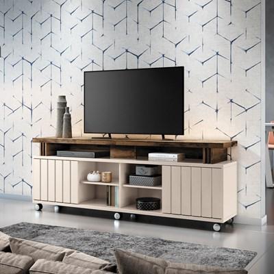 Rack Bancada Para TV Até 70 Pol. 1.8 Briz H01 Off White/Deck - Mpozenato