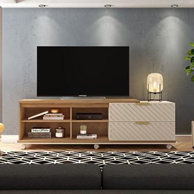 Rack Bancada para TV até 75 Polegadas com Rodízios Portas 3D Harmony Buriti/Off White - Caemmun