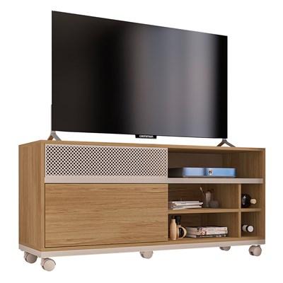 Rack Bancada Para TV Até Pol. 2 Portas Deslizantes Slide Buriti/Off White - Caemmun