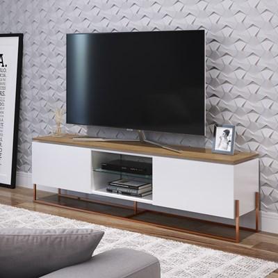 Rack Bancada Para TV de 42 Pol. Estilo Industrial 1.3 Vesta Branco/Hanouver Base Cobre - Artesano