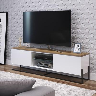 Rack Bancada Para TV de 42 Pol. Estilo Industrial 1.3 Vesta Branco/Hanouver Base Preta - Artesano