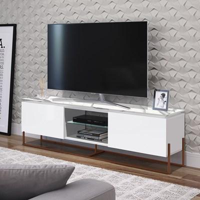 Rack Bancada Para TV de 42 Pol. Estilo Industrial 1.3 Vesta Branco/Thassos Base Cobre - Artesano