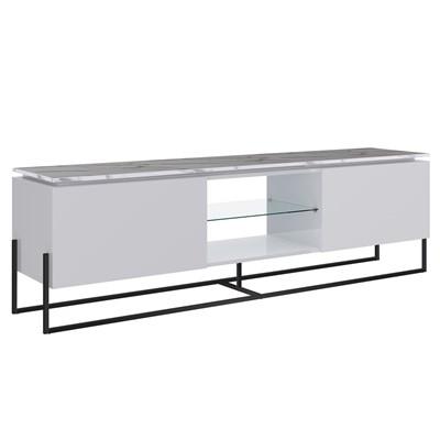 Rack Bancada Para TV de 42 Pol. Estilo Industrial 1.3 Vesta Branco/Thassos Base Preta - Artesano