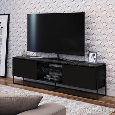 Rack Bancada Para TV de 42 Pol. Estilo Industrial 1.3 Vesta Preto/Marquina Base Preta - Artesano