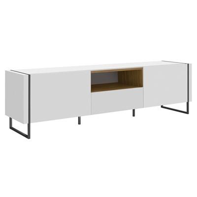 Rack Bancada Para TV de 50 Pol. Estilo Industrial Vesta Branco/Hanouver Base Preta - Artesano