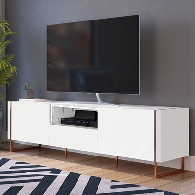 Rack Bancada Para TV de 50 Pol. Estilo Industrial Vesta Branco/Thassos Base Cobre - Artesano