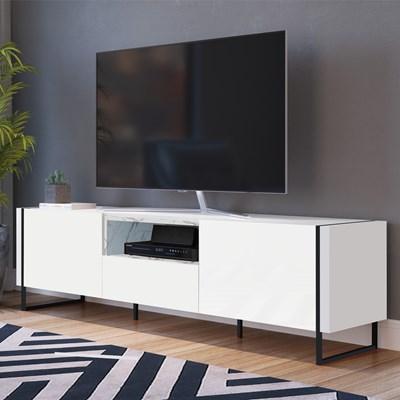 Rack Bancada Para TV de 50 Pol. Estilo Industrial Vesta Branco/Thassos Base Preta - Artesano