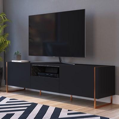 Rack Bancada Para TV de 50 Pol. Estilo Industrial Vesta Preto/Marquina Base Cobre - Artesano