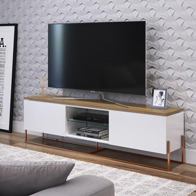 Rack Bancada Para TV de 55 Pol. Estilo Industrial 1.8 Vesta Branco/Hanouver Base Cobre - Artesano