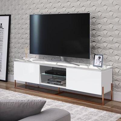 Rack Bancada Para TV de 55 Pol. Estilo Industrial 1.8 Vesta Branco/Thassos Base Cobre - Artesano