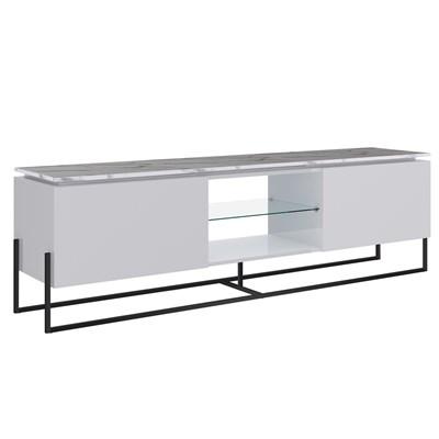 Rack Bancada Para TV de 55 Pol. Estilo Industrial 1.8 Vesta Branco/Thassos Base Preta - Artesano