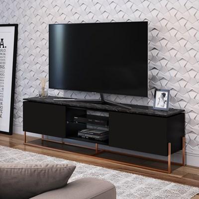 Rack Bancada Para TV de 55 Pol. Estilo Industrial 1.8 Vesta Preto/Marquina Base Cobre - Artesano