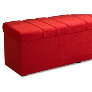 Recamier Calçadeira Baú 140 cm Roma Suede Amassado Vermelho - JS Móveis