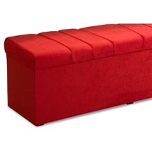 Recamier Calçadeira Baú 160 cm Roma Suede Amassado Vermelho - JS Móveis